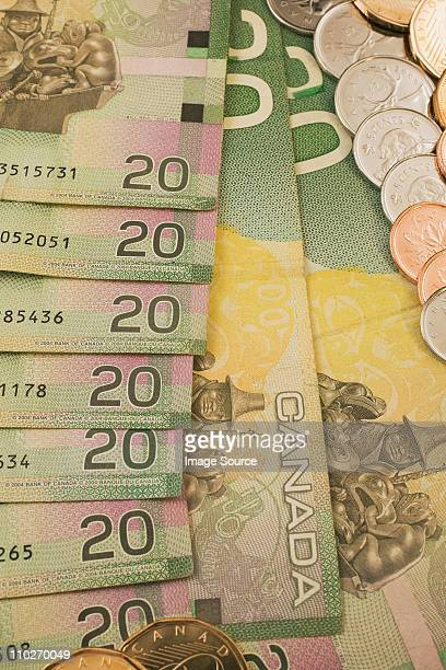 Canadian 20 dollar banknotes and coins