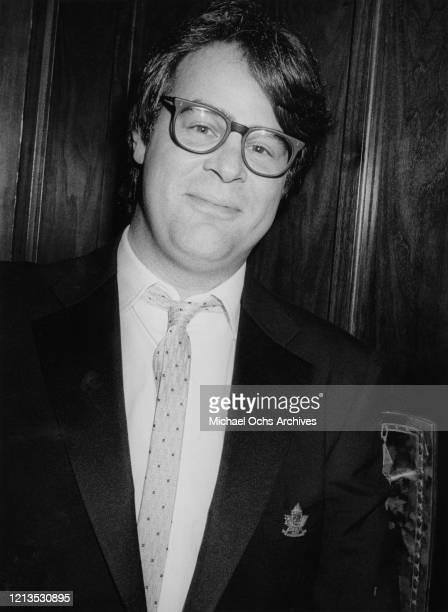 Canadian actor and comedian Dan Aykroyd at a party for fellow 'Saturday Night Live' alumnus Eddie Murphy in Los Angeles California circa 1987