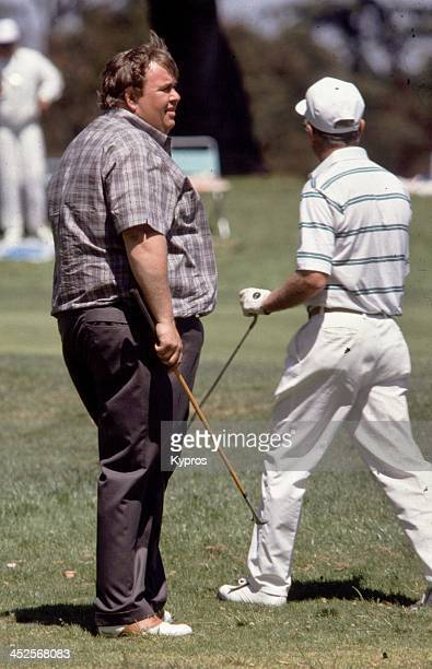 Canadian actor and comedian John Candy on a golf course circa 1990