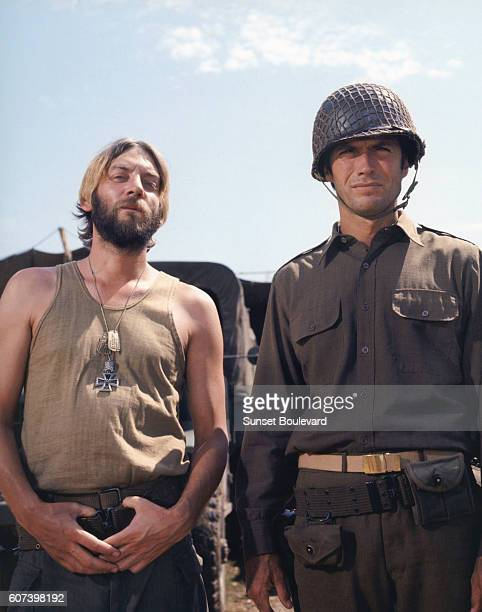 Canadian actor Donald Sutherland and American Clint Eastwood on the set of Kelly's Heroes directed by Brian G Hutton