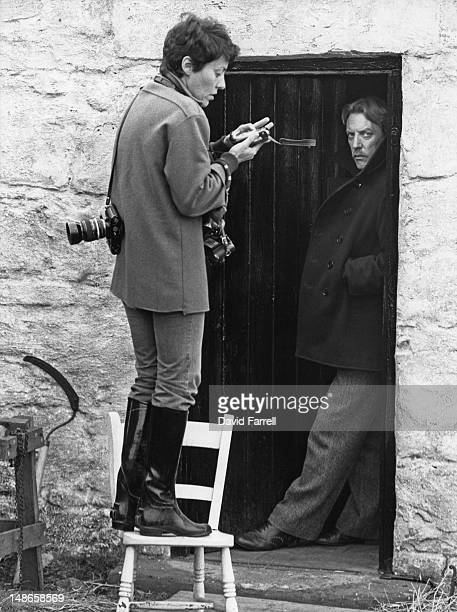Canadian actor Donald Sutherland being photographed by a Magnum photographer on the set of the film 'Eye of the Needle' Scotland 1981