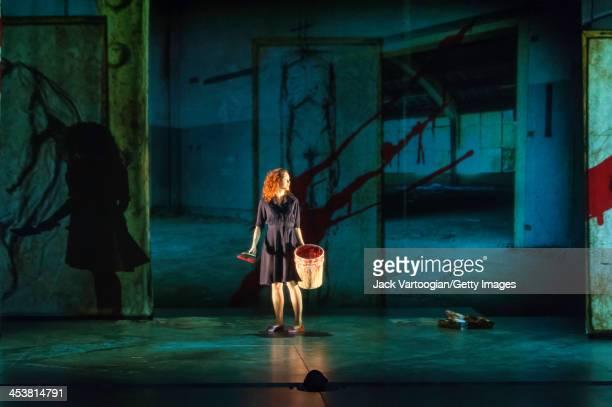 Canadian actor Janine Theriault performs in the Theatre du Nouveau Monde / Lemieux Pilon 4D Art co-production of 'La Belle et la Bete' at the BAM...