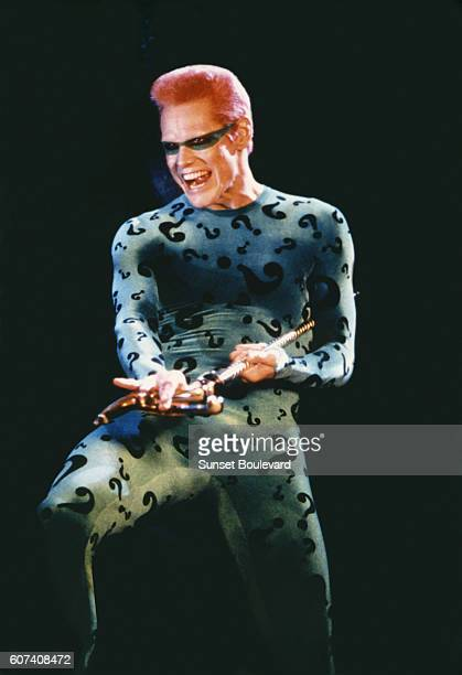 Canadian actor Jim Carrey on the set of Batman Forever, directed by Joel Schumacher.