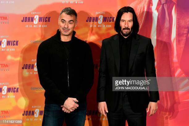 Canadian actor Keanu Reeves and US stuntman and director Chad Stahelski pose during a photocall to promote the film John Wick Chapter 3 Parabellum on...