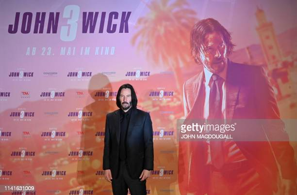 Canadian actor Keanu Reeves poses during a photocall to promote the film John Wick Chapter 3 Parabellum on May 6 2019 in Berln