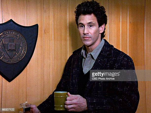 Canadian actor Michael Ontkean pours a cup of coffee in a scene from the pilot episode of the television series 'Twin Peaks' originally broadcast on...