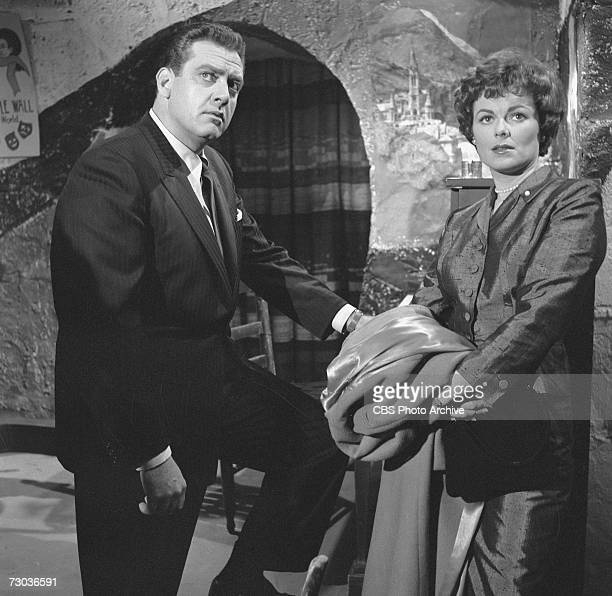 Canadian actor Raymond Burr in the titular role in the television series 'Perry Mason' and American actress Barbara Hale as Della Street appear in a...