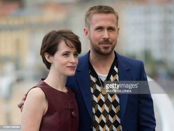 Canadian actor Ryan Gosling and British actress Claire Foy pose during the photocall of the film First man during the 66th San Sebastian Film...