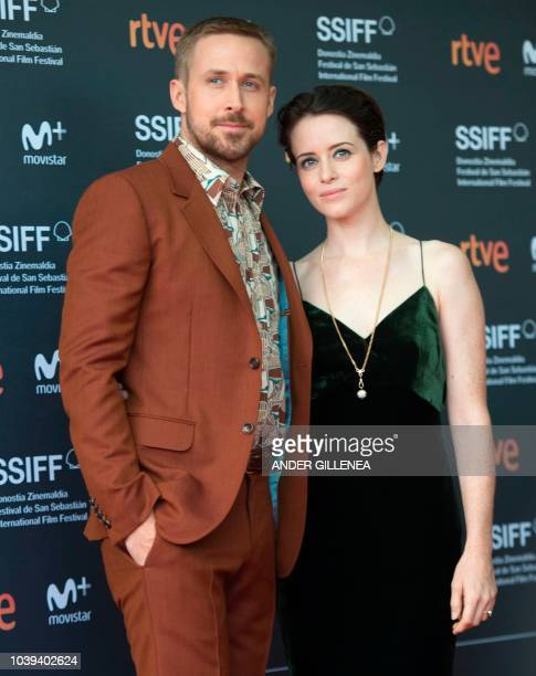 Canadian actor Ryan Gosling and British actress Claire Foy pose before the screening of the film First man during the 66th San Sebastian Film...