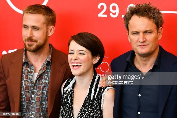Canadian actor Ryan Gosling British actress Claire Foy and Australian actor Jason Clarke attend a photocall for the film First Man on August 29 2018...