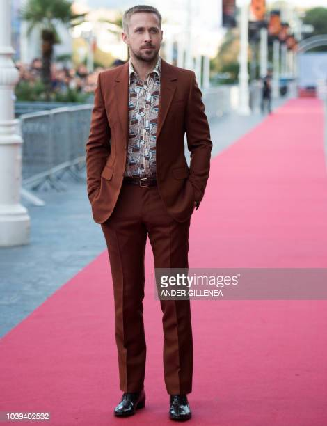 """Canadian actor Ryan Gosling poses before the screening of the film """"First man"""" during the 66th San Sebastian Film Festival, in the northern Spanish..."""