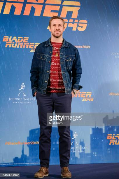 Canadian actor Ryan Gosling poses during the photocall of the film 'Blade Runner 2049' in Madrid on September 19 2017