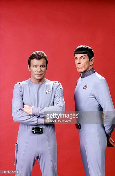 Canadian actor William Shatner and American Leonard Nimoy on the set of Star Trek: The Motion Picture, directed by Robert Wise.