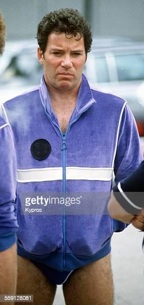 Canadian actor William Shatner wearing swimming trunks circa 1988