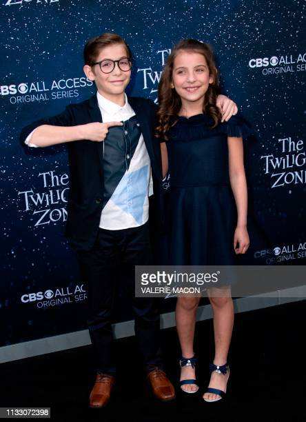 Canadian actors Jacob Tremblay and sister Erica Tremblay attend CBS' The Twilight Zone premiere at the Harmony Gold Preview House on March 26 2019 in...
