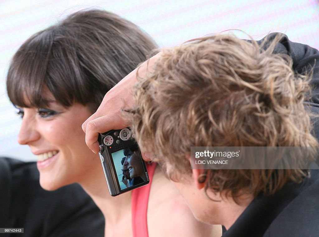 Canadian actors Monia Chokri and Niels Schneider attend the Canal+ TV show 'Le Grand Journal' at the 63rd Cannes Film Festival on May 17, 2010 in Cannes.