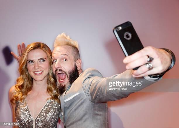 Canadian actors Sara Canning and Michael Eklund take a selfie on the red carpet at the Leo Awards 2017 at Hyatt Regency Vancouver on June 4 2017 in...