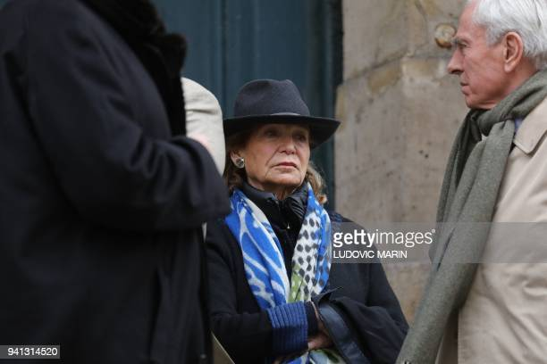Canadian actress Alexandra Stewart takes part in the funeral ceremony of late actress Stephane Audran on April 3 at Saint Roch church in Paris...