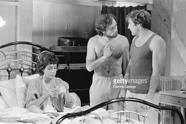 Canadian actress and singer Carole Laure French actors Patrick Dewaere and Gerard Depardieu on the set of Preparez Vos Mouchoirs written and directed...