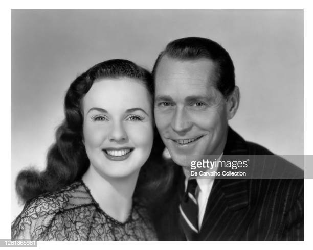 Canadian Actress and Singer Deanna Durbin as 'Kim Walker' and Actor Franchot Tone as 'Paul Taylor' in a publicity shot from the movie 'Because of...