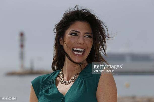 Canadian actress Cindy Sampson poses for a photocall for a TV serie Private Eyes during the MIPTV on April 4 2016 in Cannes French riviera / AFP /...