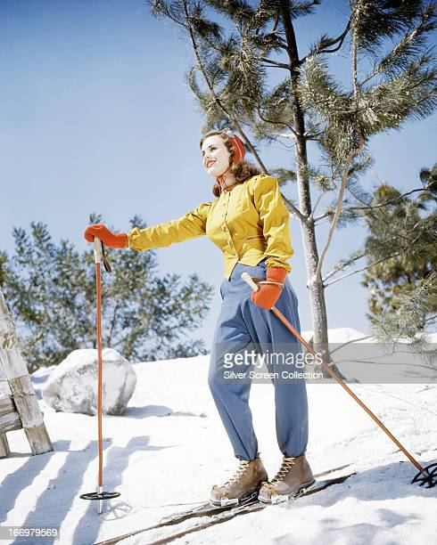 Canadian actress Deanna Durbin on a ski slope circa 1945