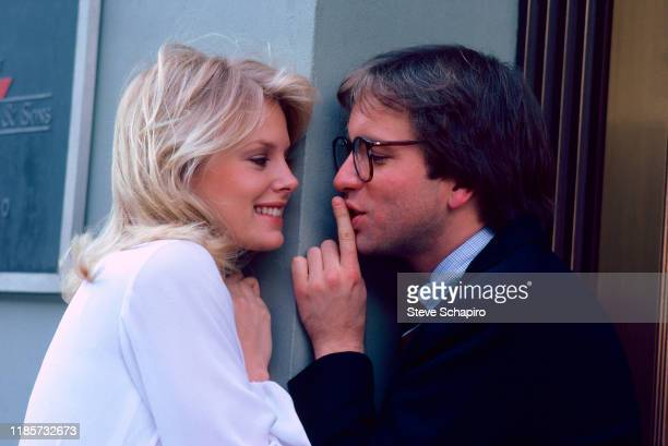 Canadian actress Dorothy Stratten and American actor John Ritter on the set of the film 'They All Laughed' New York New York 1980