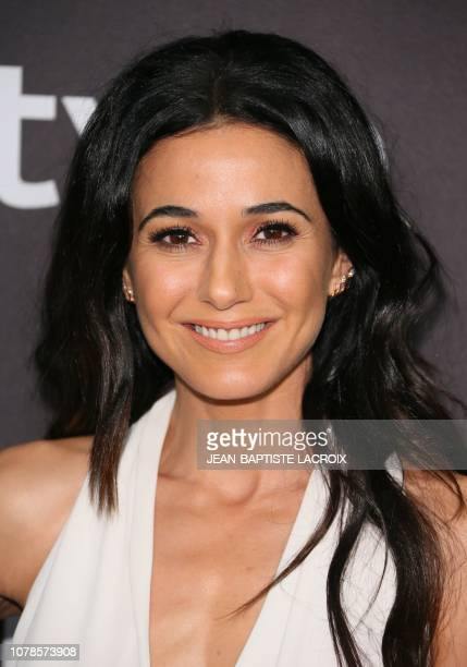 Canadian actress Emmanuelle Chriqui arrives for the Warner Bros and In Style 20th annual post Golden Globes party at the Oasis Courtyard of the...
