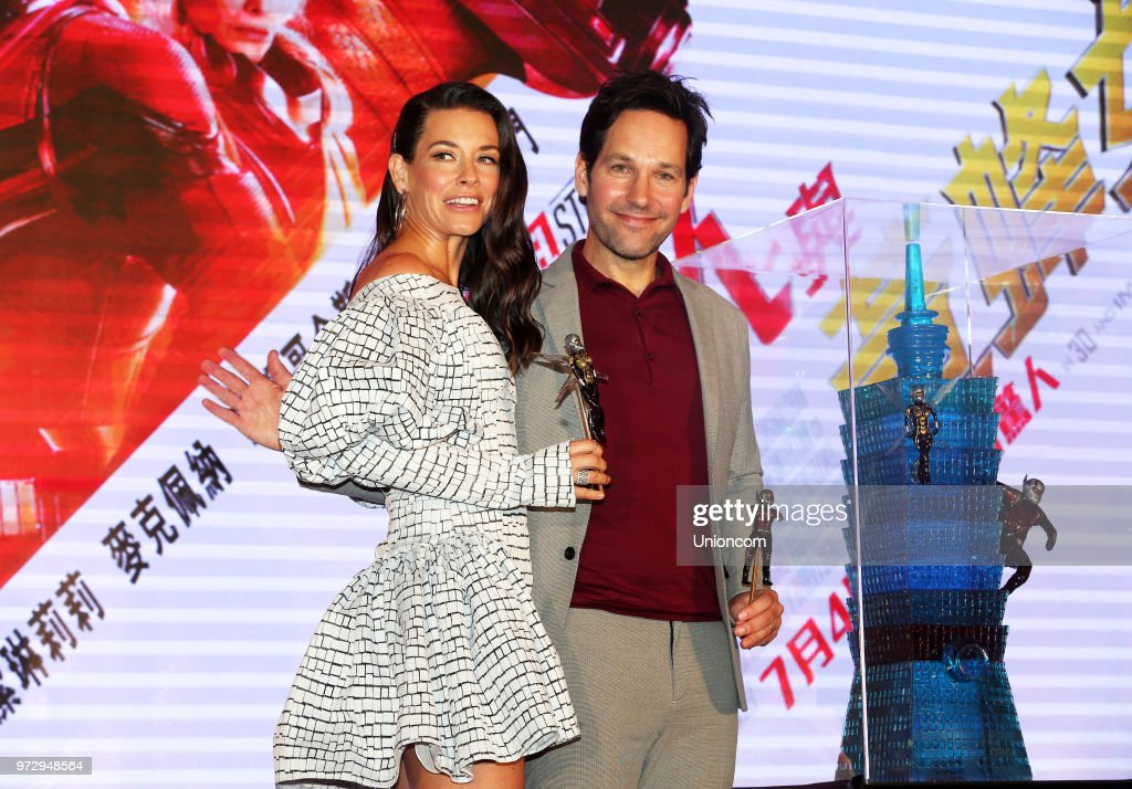 Canadian actress Evangeline Lily and American actor Paul Rudd attend a press conference of director Peyton Reed's movie 'Ant-Man and the Wasp' on June 12, 2018 in Taipei, Taiwan of China.