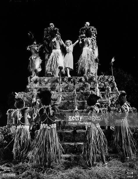 Canadian actress Fay Wray plays the beleaguered heroine of the classic monster movie 'King Kong' The natives tie her to a ceremonial altar as a human...