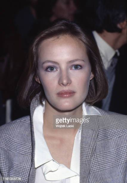 Canadian actress Gabrielle Lazure in the audience during the Nino Cerruti fashion show Paris France on October 20th 1983