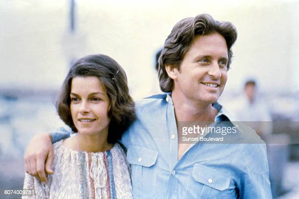 Canadian actress Genevieve Bujold and American actor Michael Douglas on the set of Coma written and directed by American Michael Crichton