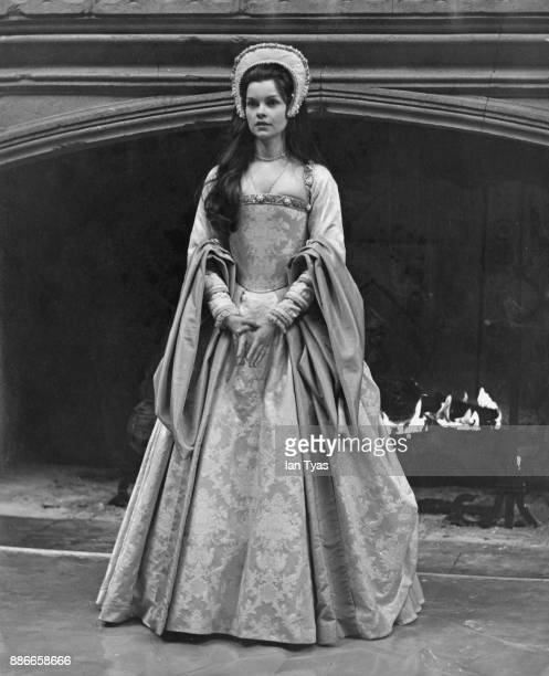Canadian actress Geneviève Bujold as Anne Boleyn during a reception for the stars of the film 'Anne of the Thousand Days' at Shepperton Studios UK...