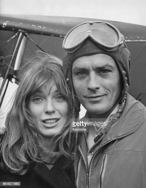 Canadian actress Joanna Shimkus and French actor Alain Delon film the movie 'Les Aventuriers' aka 'The Last Adventure' in Paris France 16th October...