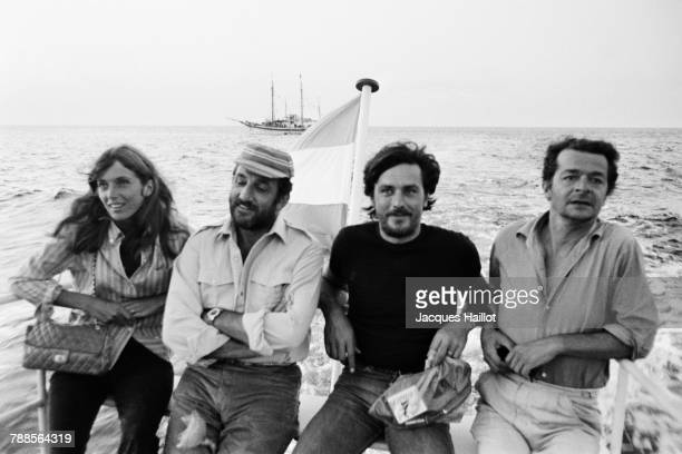 Canadian actress Joanna Shimkus, Italian actor Lino Ventura, French actors Alain Delon and Serge Reggiani on the set of Les aventuriers, written and...