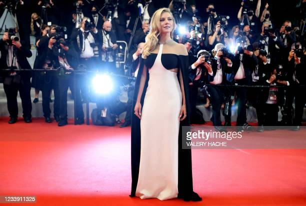 """Canadian actress Katheryn Winnick arrives for the screening of the film """"Flag Day"""" at the 74th edition of the Cannes Film Festival in Cannes,..."""