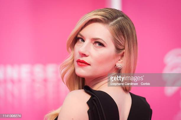 Canadian actress Katheryn Winnick jury member of the Cannes Series poses on the pink carpet during the 2nd Canneseries International Series Festival...