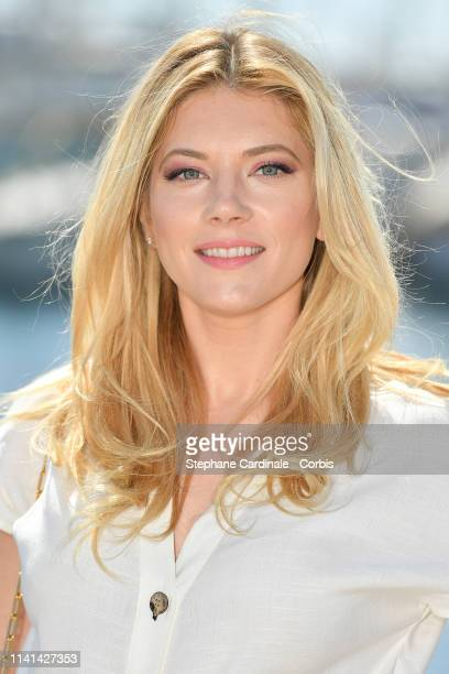 Canadian actress Katheryn Winnick jury member of the Cannes Series poses during the 2nd Canneseries International Series Festival Day Five on April...