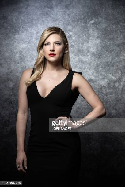 Canadian actress Katheryn Winnick poses for a photo session during the 2nd edition of the Cannes International Series Festival on April 8 2019 in...