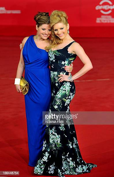 Canadian actress Katheryn Winnick poses with her sister Daria at the premiere of A Glimpse Inside the Mind of Charles Swan III on November 15 2012 in...