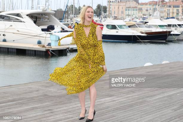 Canadian actress Lauren Lee Smith poses during a photo call for a TV series Frankie Drake Mysteries as part of the MIPCOM on October 15 2018 in...