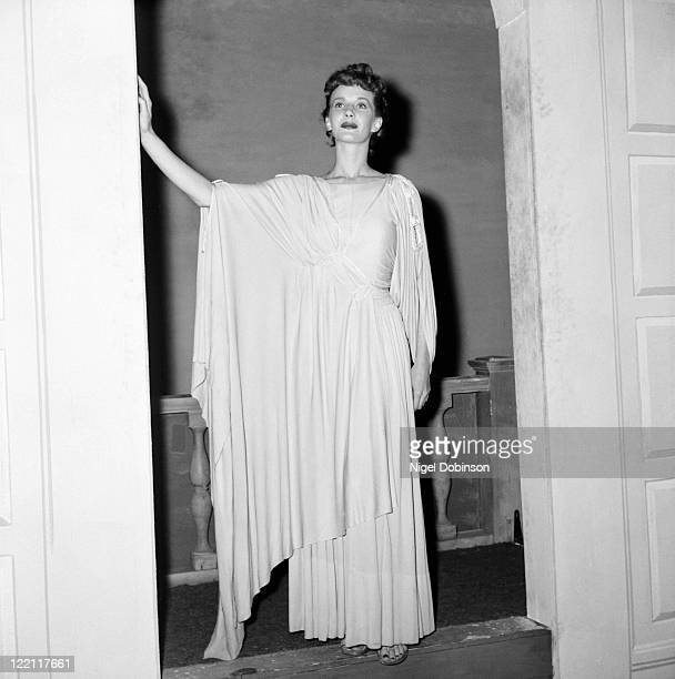 Canadian actress Lois Maxwell wearing a Grecian-style gown, USA, circa 1950.