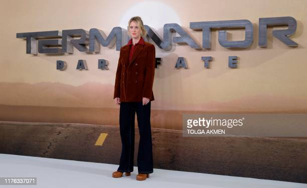 Canadian actress Mackenzie Davis poses during a photo call to promote the film Terminator Dark Fate in London on October 17 2019 Linda Hamilton and...