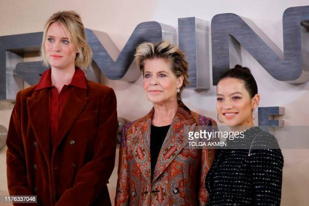 Canadian actress Mackenzie Davis US actress Linda Hamilton and Colombian actress Natalia Reyes pose during a photo call to promote the film...