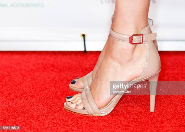 Canadian actress Marie Avgeropoulos shoe detail attends the 6th Annual UBCP/ACTRA Awards at Vancouver Playhouse on November 18 2017 in Vancouver...