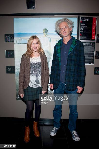 Canadian actress Marie Josee Croze and director Santiago Amigorena attend the Paris premiere of 'Another Silence' at MK2 Beaubourg on October 17 2011...