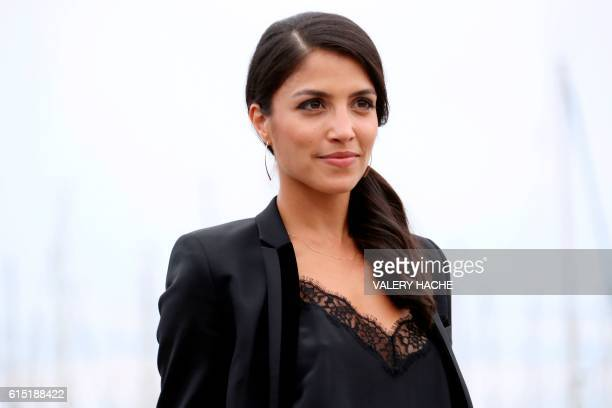 Canadian actress Nazneen Contractor poses during a photocall for the TV series Ransom as part of the MIPCOM on October 17 2016 in Cannes southeastern...