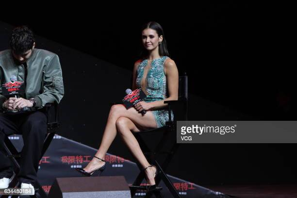 Canadian actress Nina Dobrev attends the press conference of film 'xXx Return of Xander Cage' on February 9 2017 in Beijing China
