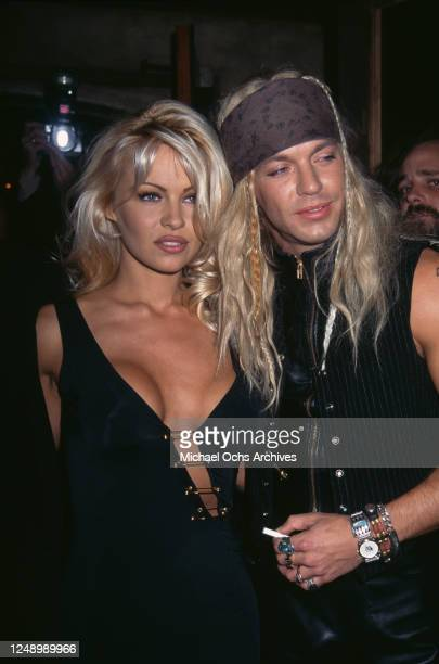 Canadian actress Pamela Anderson and American singer-songwriter Bret Michaels, circa 1994.