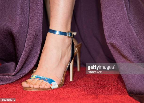 Canadian actress Priscilla Faia shoe detail attends the Leo Awards 2017 at Hyatt Regency Vancouver on June 4 2017 in Vancouver Canada